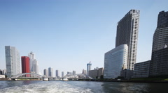 Tokyo japan city 4k harbour skyscrapers river cruise boat Stock Footage