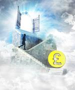 Pound coin business access on top with gate entrance and stairway illustratio Stock Illustration