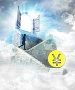 Stock Illustration of yuan coin business access on top with gate entrance and stairway illustration