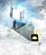 unlocked access on top with gate entrance and stairway illustration - stock illustration