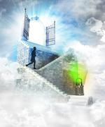 Stock Illustration of green idea access on top with gate entrance and stairway illustration