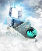 Asian world access on top with gate entrance and stairway illustration Stock Illustration