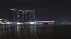 4K Time lapse Marina Bay Sands Resort at night Stock Footage