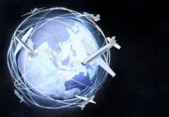 Horizontal asia earth globe view with plane traffic illustration Stock Illustration