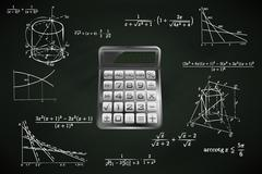 Calculator on blackboard with math calculations vector illustration Piirros