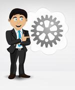 cogwheel in bubble idea concept of man in suit vector illustration - stock illustration