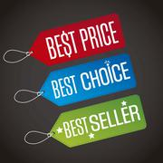 Best price with best choice and best seller labels. vecor Stock Illustration