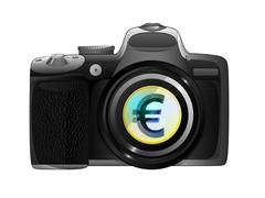 Golden euro coin in camera focus ready to snapshot isolated vector illustration Stock Illustration