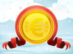 Stock Illustration of golden euro coin with xmas bow at winter scenery vector illustration