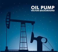 silhouette oil pump over night background. vector illustration - stock illustration