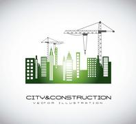 Silhouettte construction crane with buildigns. vector illustration Stock Illustration