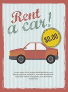 Rent a car annoucement, vintage style. vector illustration Stock Illustration