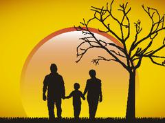Stock Illustration of family silhouette over afternoon backrground. vector illustration