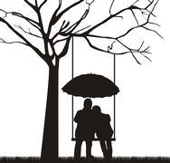 couple under tree with umbrella, white background. vector - stock illustration
