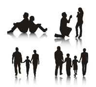 couple and family silhouette over white background. vector - stock illustration