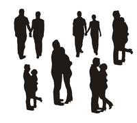 couple silhouette isolated over white background. vector - stock illustration