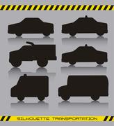 black silhoette cars over gray background. vector illustration - stock illustration