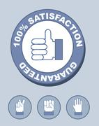 100% satisfaction seal with hands. vector illustration Stock Illustration