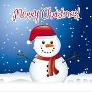 christmas card with snowman with snow. vector illustration - stock illustration