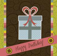 Stock Illustration of birthday card with cute gift, scrapbook. vector illustration