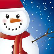 snowman over sky with snow, close up. vector illustration - stock illustration