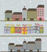 cute buildings with gifts and snow background. vector illustration - stock illustration