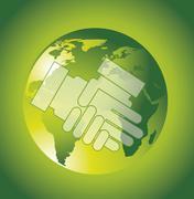 hands over planet over green background, business. vector illustration - stock illustration