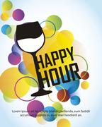 happy hour with cup over colorful circles over blue background. vector - stock illustration