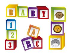 baby blocks with faces animals and letters. vector illustration - stock illustration