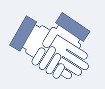 hands business over blue background. vector illustration - stock illustration