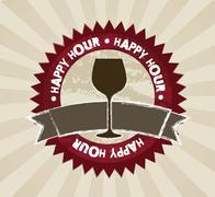 happy hour labels over brown background. vector illustration - stock illustration