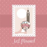 Pink just married card, background. vector illustratlion Stock Illustration