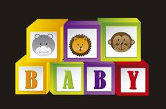 baby blocks with animals and letters. vector illustration - stock illustration