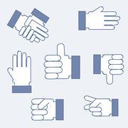 set blue hands isolated over blue background. vector illustration - stock illustration