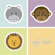 Baby shower card with animals faces. vector illustration Stock Illustration