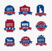 united states election vote tags over gray backgrond. vector - stock illustration