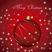 merry christmas card with christmas ball over red background. vector - stock illustration