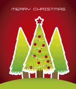 christmas card with trees over red background. vector - stock illustration