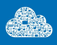 cloud computing with icons over blue background. vector illustration - stock illustration