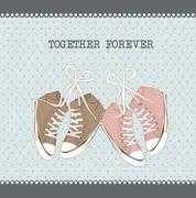 Cute sneakers over aquamarine background. vector illustration Stock Illustration