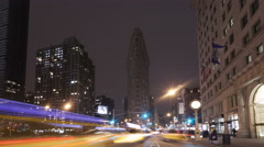 4K Time lapse zoom in traffic Flatiron Building NYC Stock Footage
