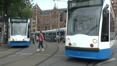No 1 tram (with audio) outside Centraal Station, Amsterdam, Netherlands. Stock Footage