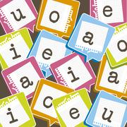 cute background with vowels over paper. vector illustration - stock illustration