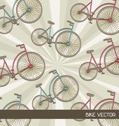 cute bikes over beige  background. vector illustration - stock illustration