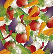 Colorful vegetables over white background. vector illustration Stock Illustration