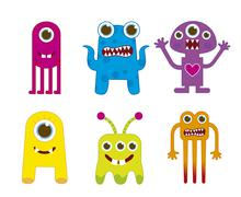 Cute monsters isolated over white background. vector illustration Stock Illustration