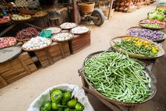 Greengrocery for sale at asian market. bagan, myanmar Stock Photos