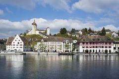 Switzerland, Canton of Schaffhausen, View of Old town with Munot Castle, High - stock photo