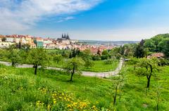 view over prague from strahov monastery - stock photo