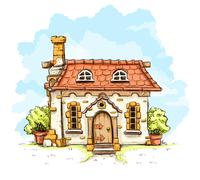 Entrance in old fairy-tale house with tiles roof Stock Illustration